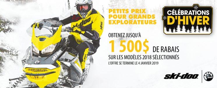 Obtenez jusqu'à 1500$ de rabais sur les modèles Ski-Doo 2018 sélectionnés.